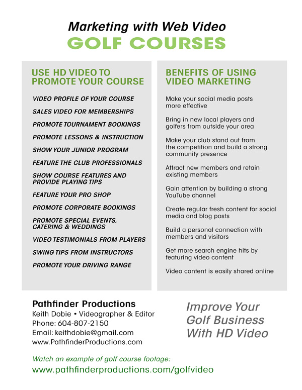 Video marketing for golf courses