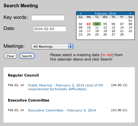 Video Player for Council Meetings